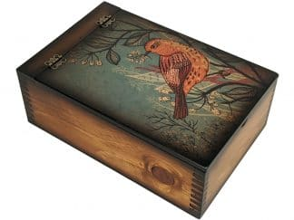 teal spring orange bird memory box
