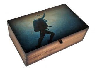 Scuba Diver Ascent Medium Wood Box