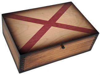 Alabama State Flag Wooden Box