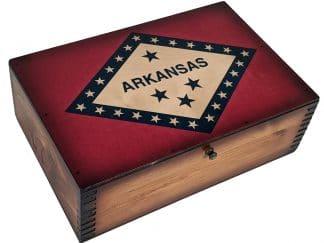 Arkansas State Flag Wooden Memory Box