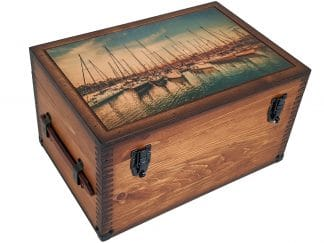 Sailboats in Harbor Wood Keepsake Box