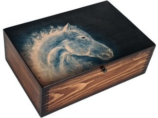 Blue Fire Horse Abstract Box