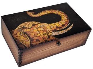 Elephant Mosaic Wood Box