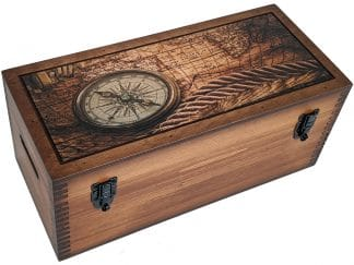 Sepia Vintage Map Compass Storage Box Wood