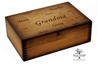 Laser engraved wooden memory box