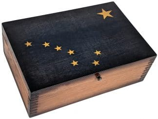 Alaska State Flag Wooden Memory Box