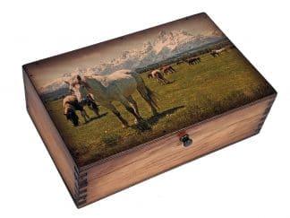 Teton Horses Medium Wood Box